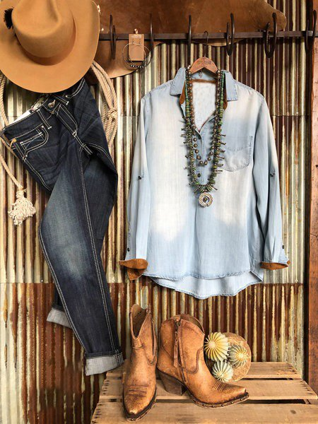 Blue Denim Long Sleeve Shirts & Tops