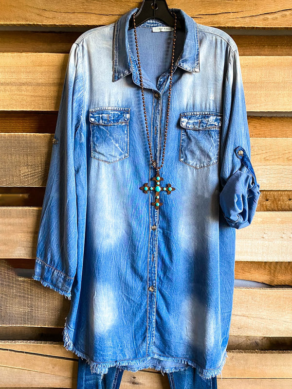 Blue Denim Solid Long Sleeve Shirts & Tops