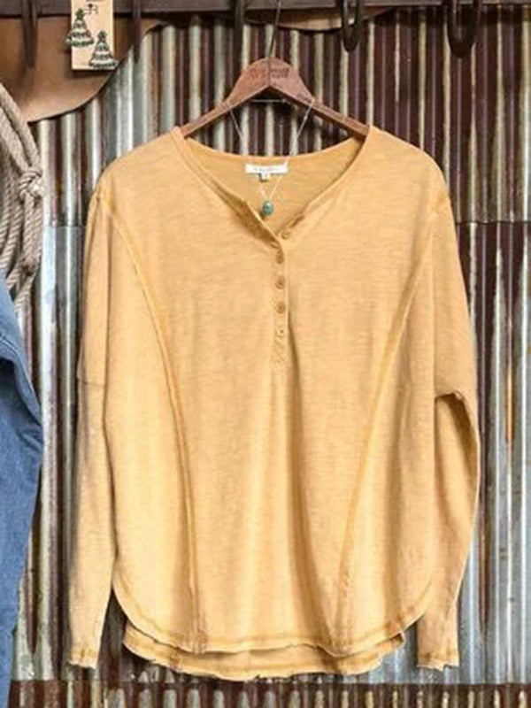 Yellow Plain Casual V Neck Shirts & Tops