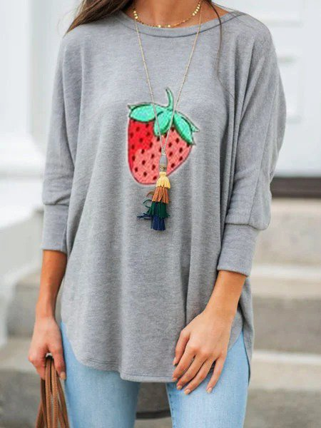 Gray Strawberry  Printed Cotton-Blend 3/4 Sleeve Crew Neck Shirts & Tops
