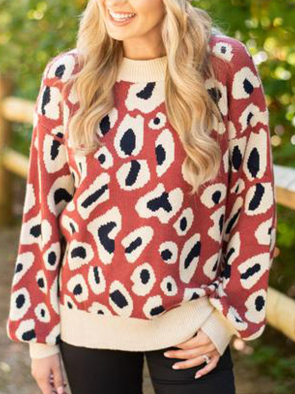 Leopard Cotton-Blend Long Sleeve Sweater