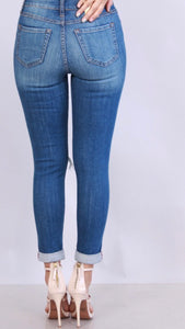 Plus Denim Distressed Capri