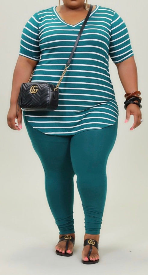 Deep Green Striped Basic Two Piece