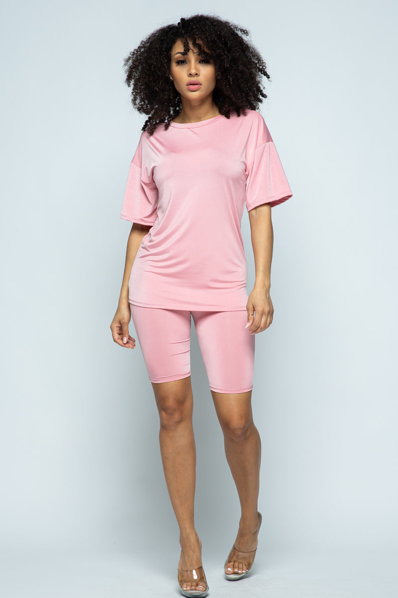 COMFY TWO PIECE BIKER SHORT SET (PINK)