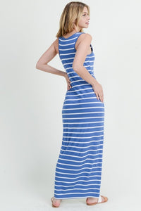 STRIPED MAXI DRESS (DENIM)