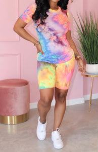 Rainbow Biker Short Set