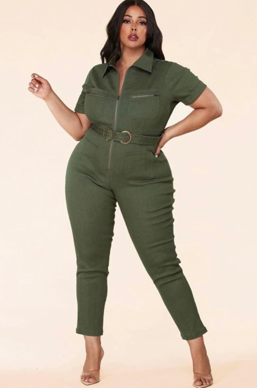 Plus Cargo Jumpsuit