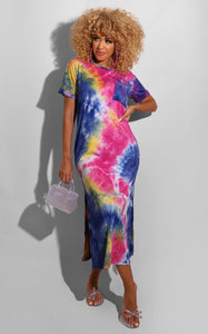 Tie Dye T-shirt Dress (Blue)