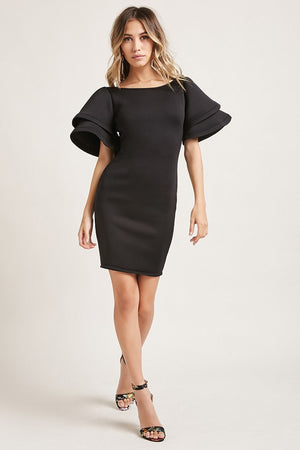 Floune Sleeve Scuba Knit Dress