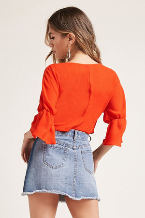 Self-Tie Plunging Crop Top
