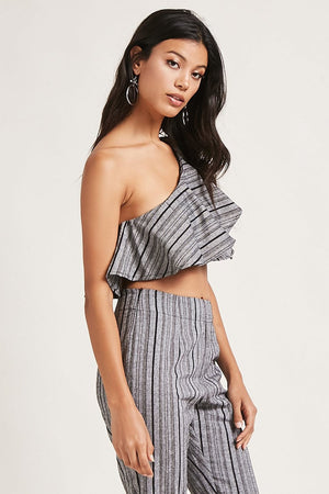 Striped One Shoulder Crop Top