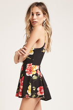 Pleated Floral Cami Romper