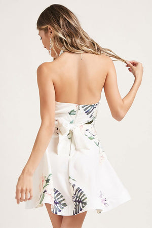 Floral Surplice Halter Dress