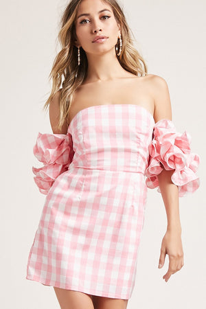 Gingham Frill Sleeve Dress