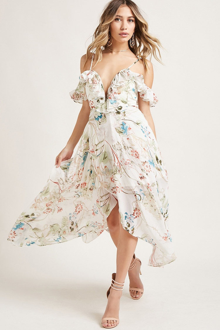 Floral Open Shoulder Dress