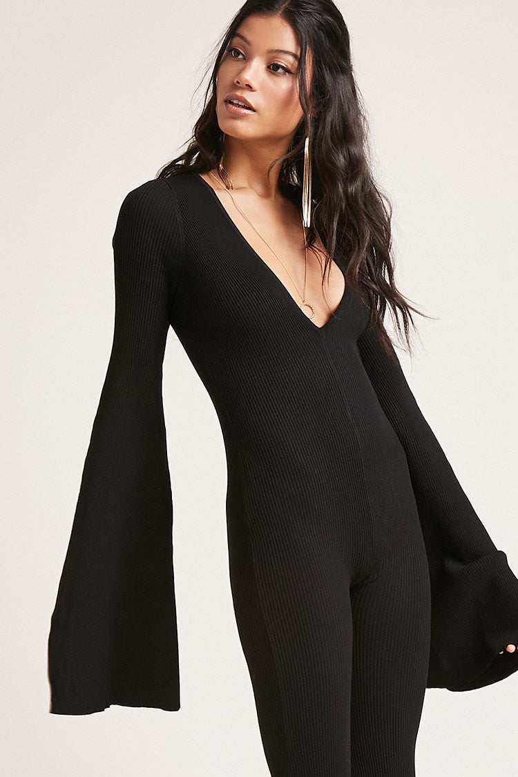 Ribbed V-Neck Jumpsuit