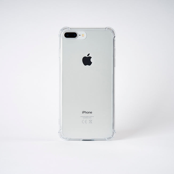 chimpcase transparente iPhone 7 Plus & 8 Plus Hülle mit Glas-Rückseite