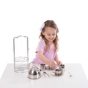 Melissa & Doug Stainless Steel Pretend Play Tea Set and Storage Rack for Kids (11 Pieces)