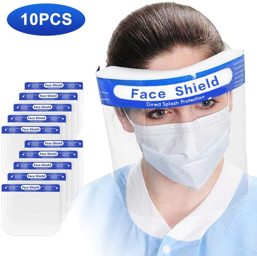 Safety Full Face Shield Clear Protector Work Medical Dental, Standard Size 10 pcs_Printers_Parts_&_Equipment_USA