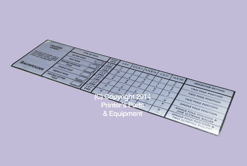 Chart Folding for Baum 714 XLT or XE Serial 91 F Onwards BAU-56246_Printers_Parts_&_Equipment_USA