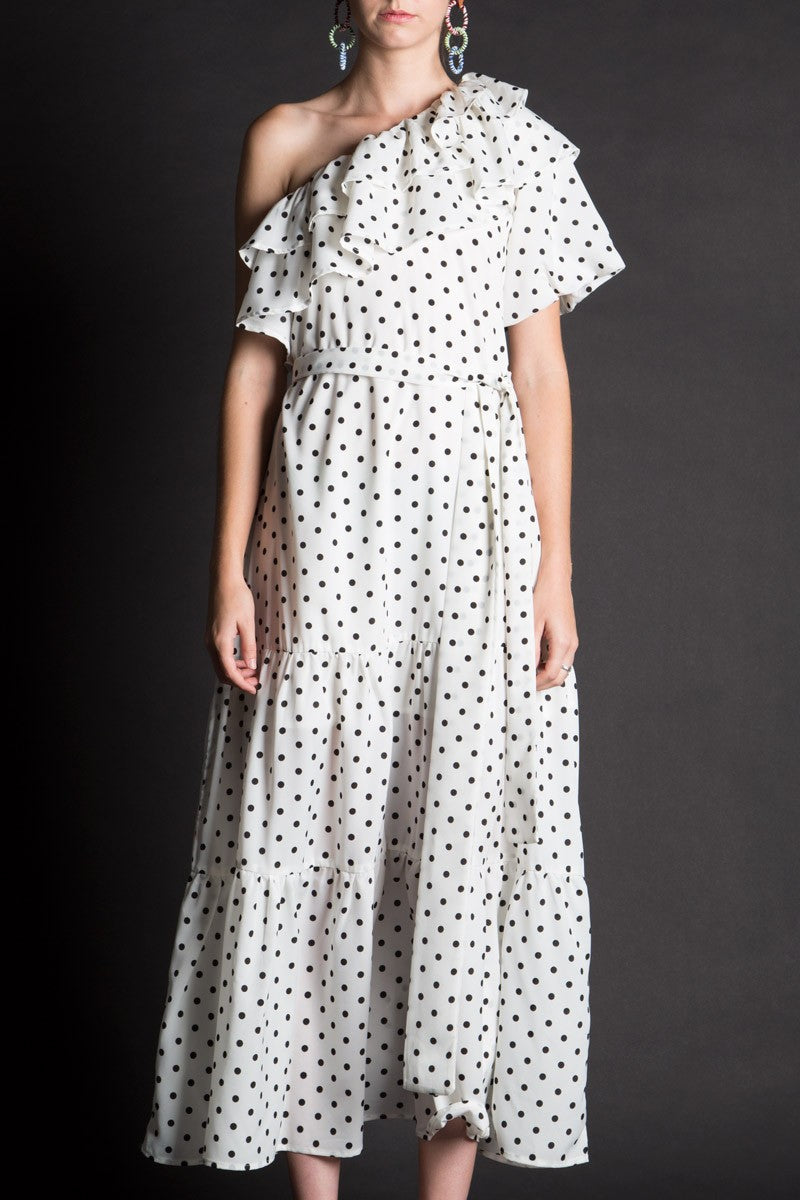 Off Shoulder Polka Dot Dress - Shop Beulah Style