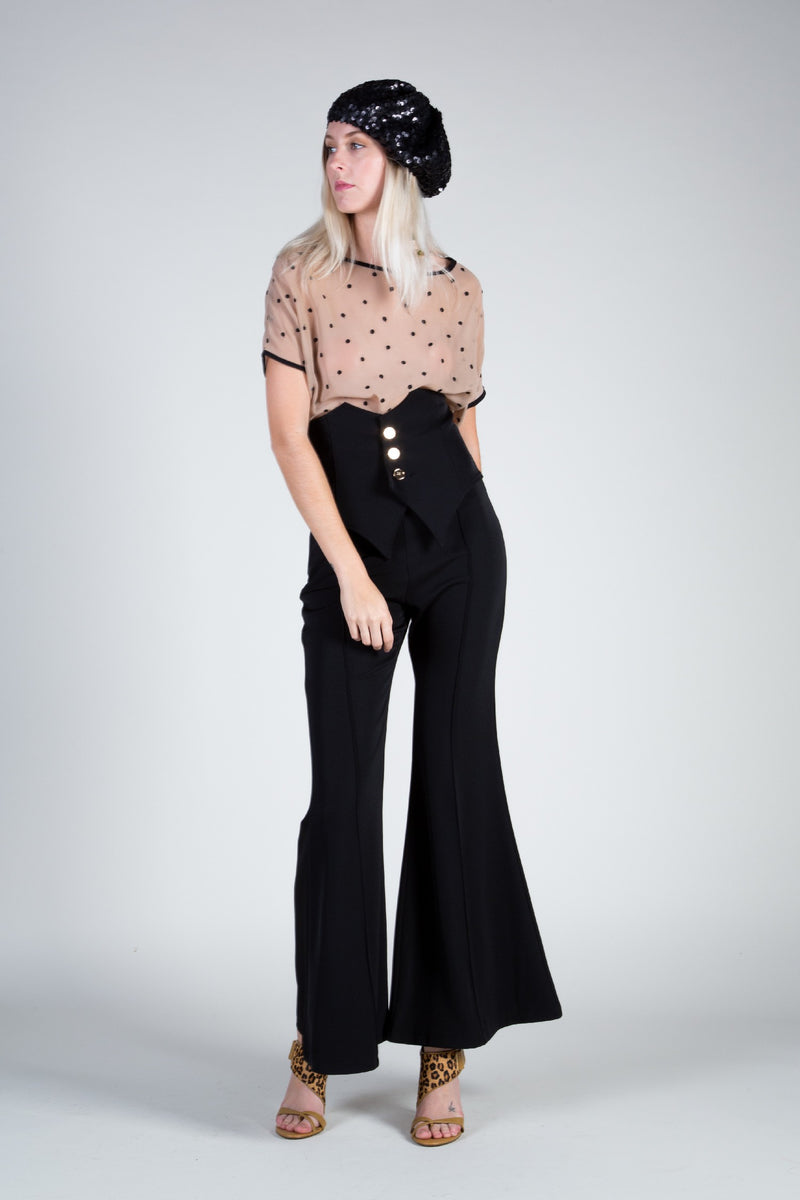Seventies inspired wide leg trouser with belt - Shop Beulah Style