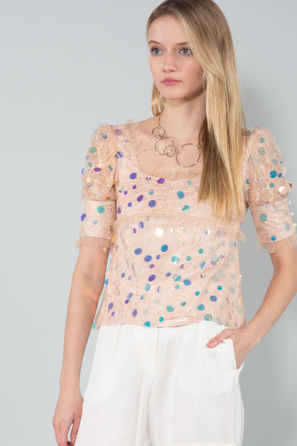 Square Neck Sequin Lace Top - Shop Beulah Style