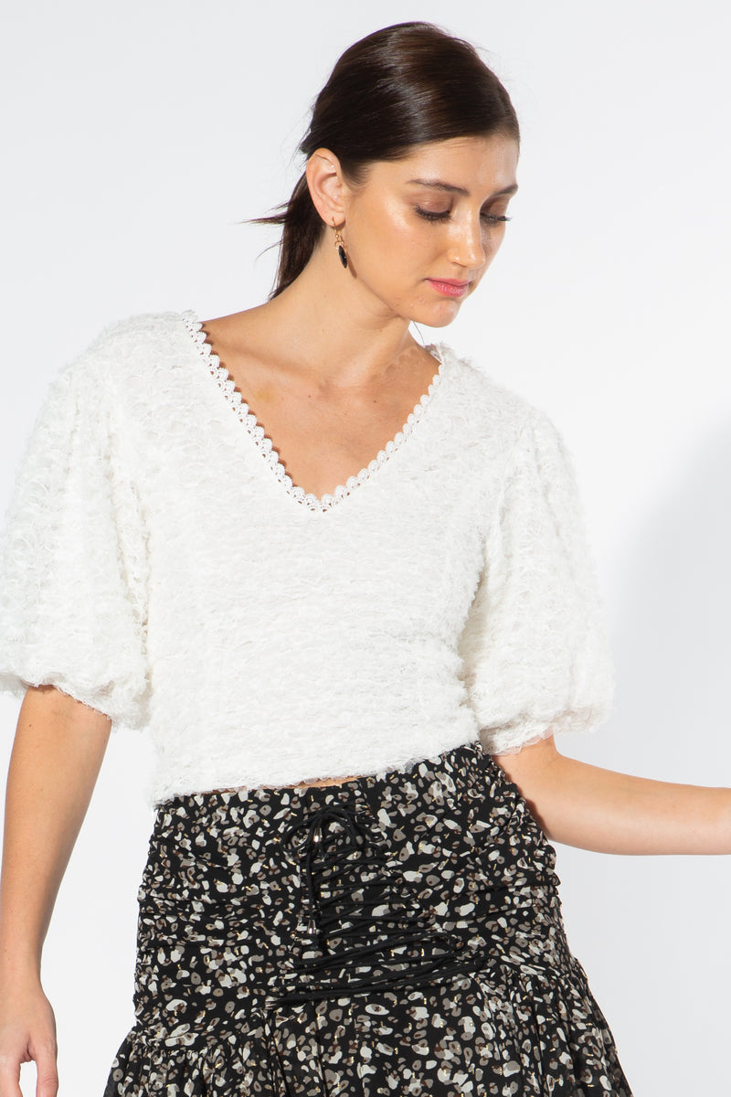 V-Neck Top with Puff Sleeves