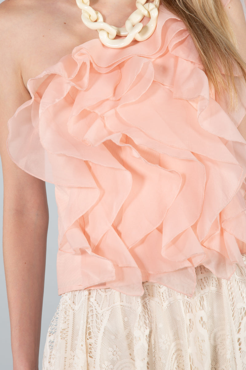 Cascading Ruffles One-Shoulder Blouse - Shop Beulah Style