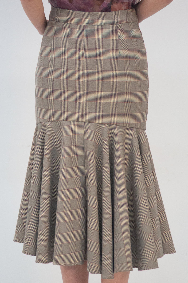 Houndstooth Skirt with Asymmetrical Buttons - Shop Beulah Style