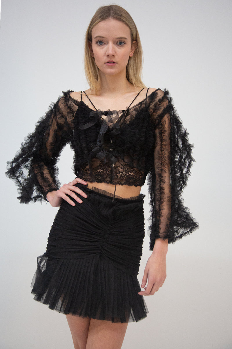 Long Sleeve Top with Ruffle Mesh - Shop Beulah Style