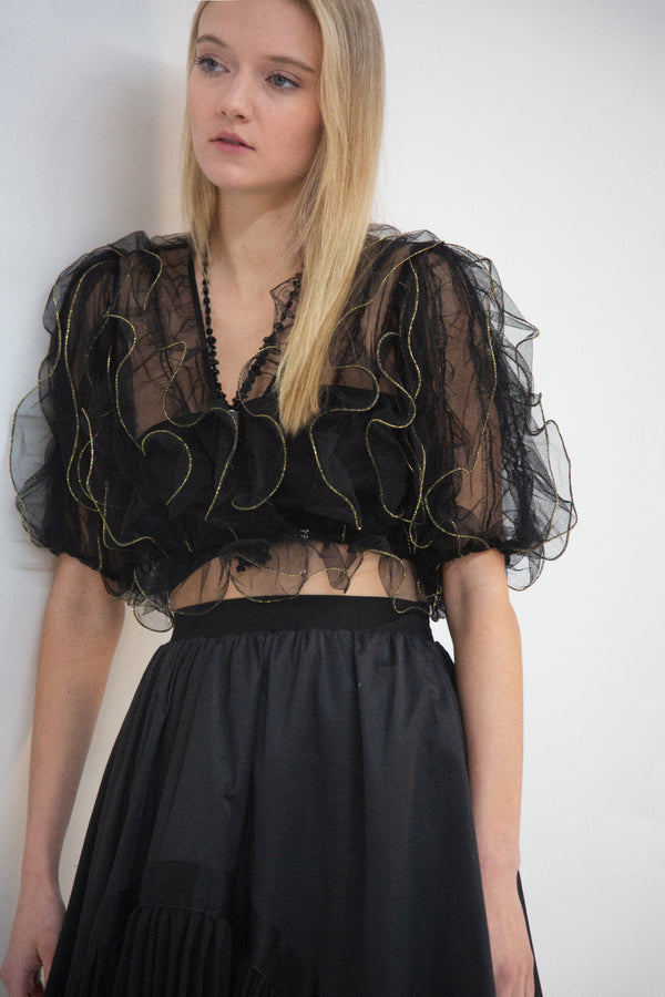 Ruffle Top with Half Sleeves - Shop Beulah Style