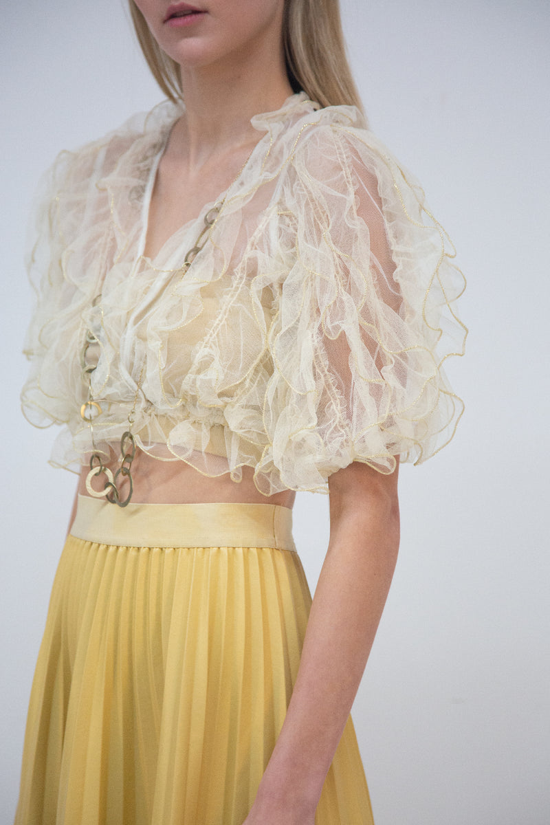 Ruffle Top with Half Sleeves