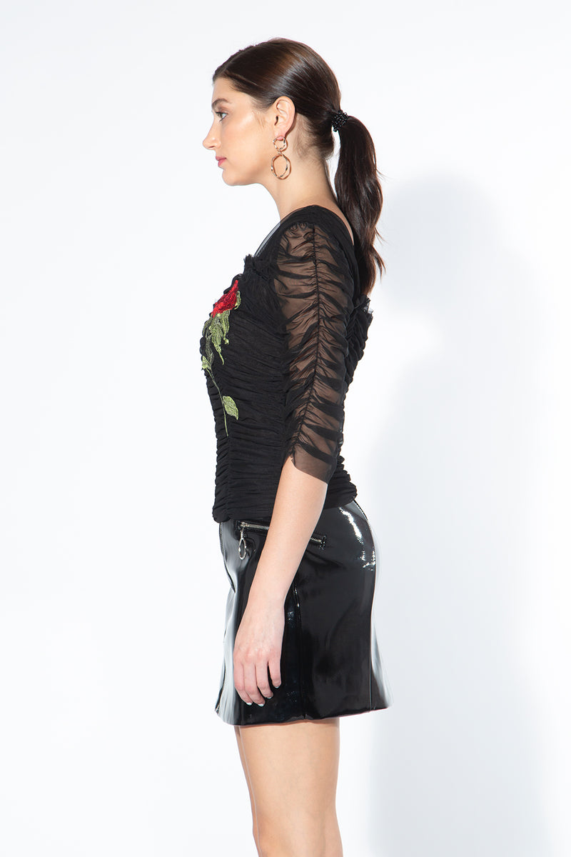 Embroidery Mesh Top with Half Sleeve - Shop Beulah Style