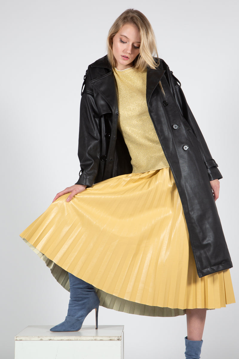 Vegan Leather Double Breasted Trench Coat - Shop Beulah Style