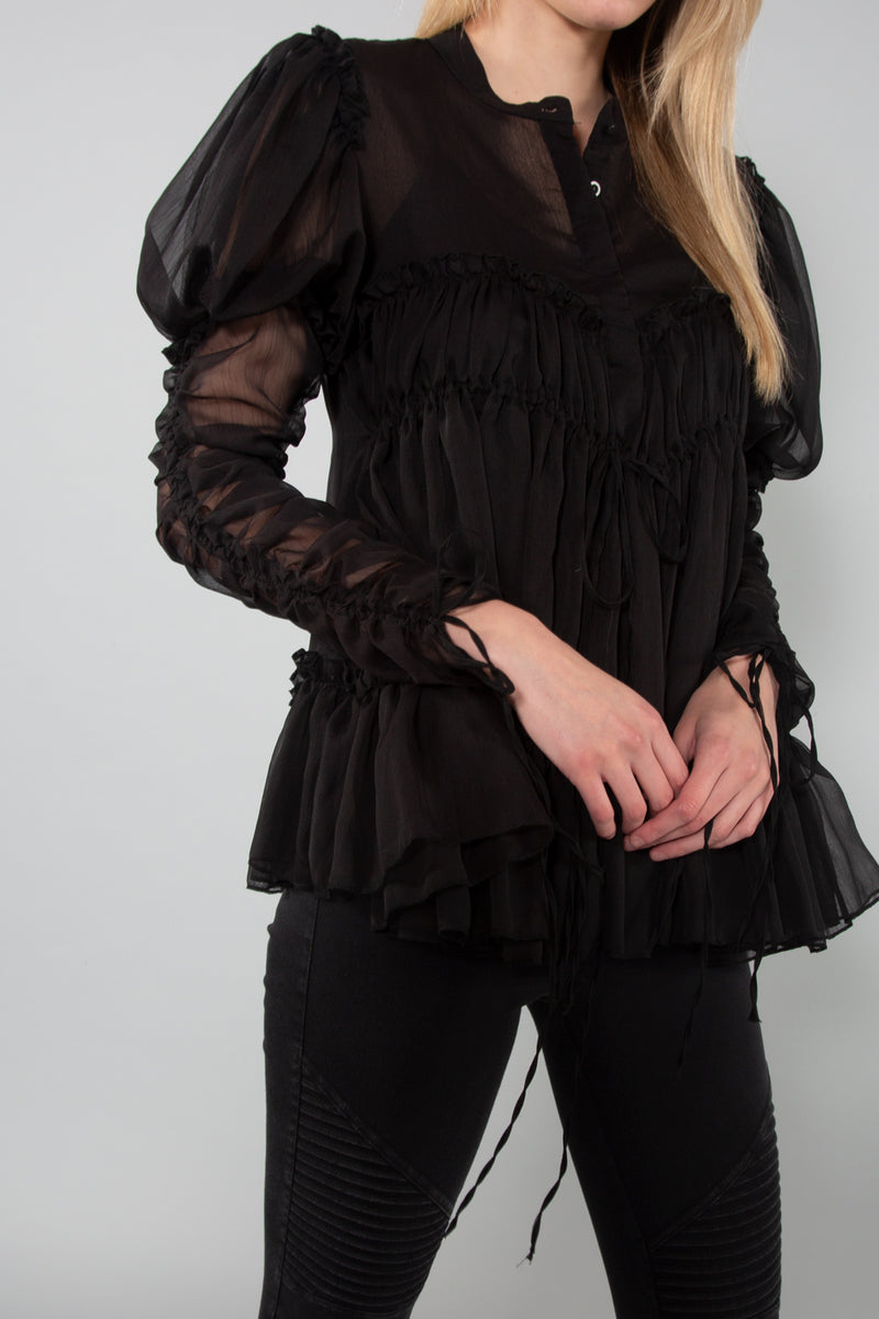 Chiffon Blouse with Ruching - Shop Beulah Style