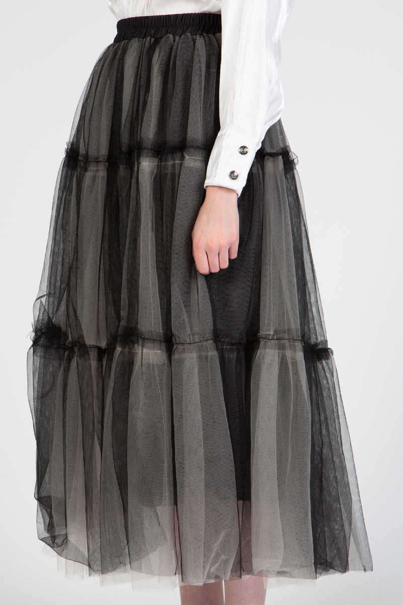 Mesh Paneled Midi Length Skirt - Shop Beulah Style