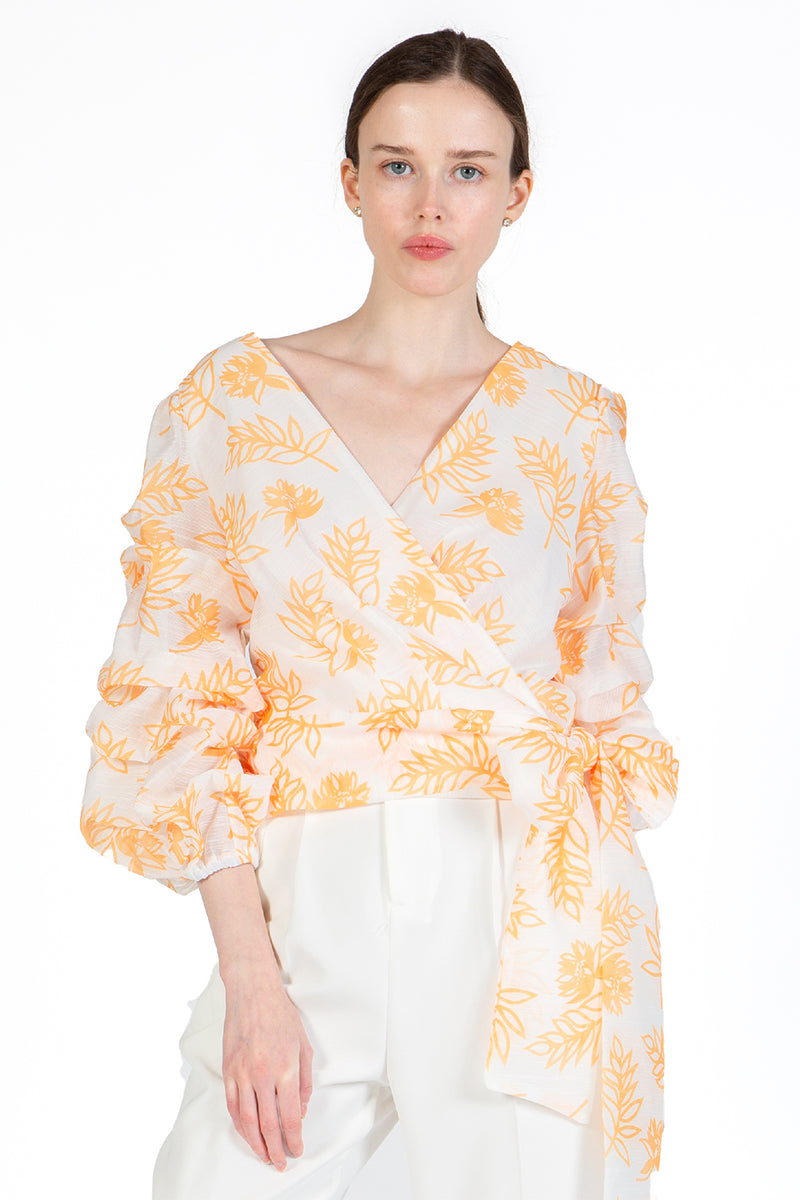 Wrapped Blouse with 3/4 Sleeves - Shop Beulah Style