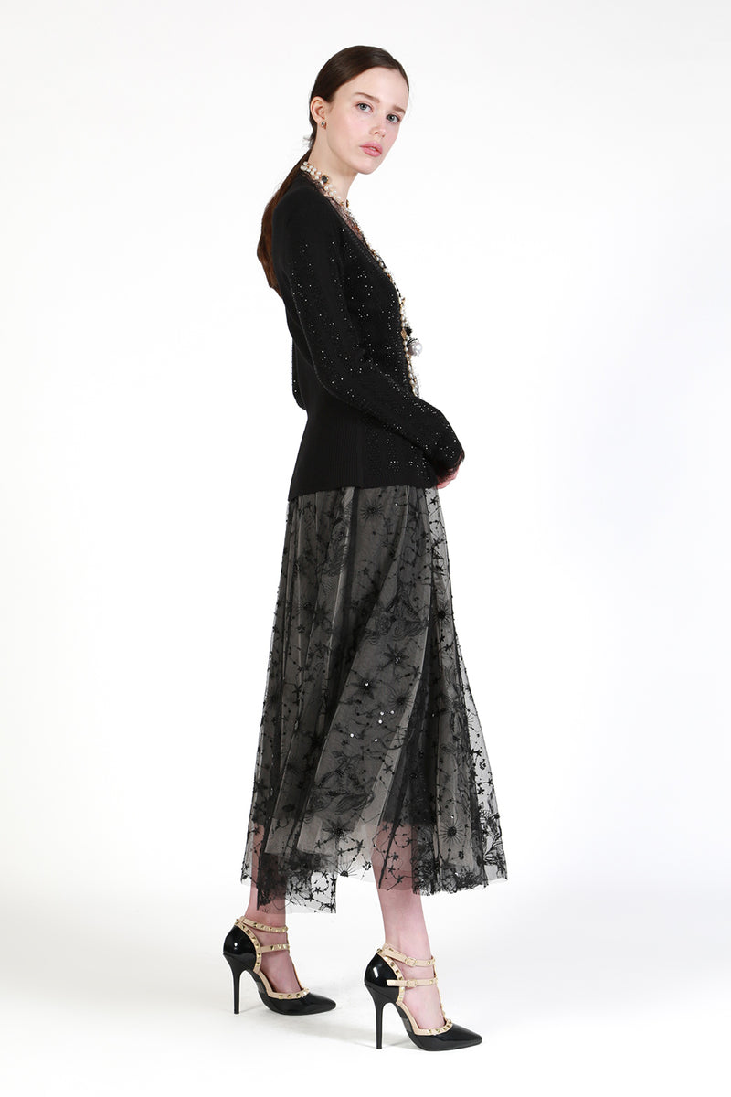 Mesh-Embroidery Midi Skirt - Shop Beulah Style