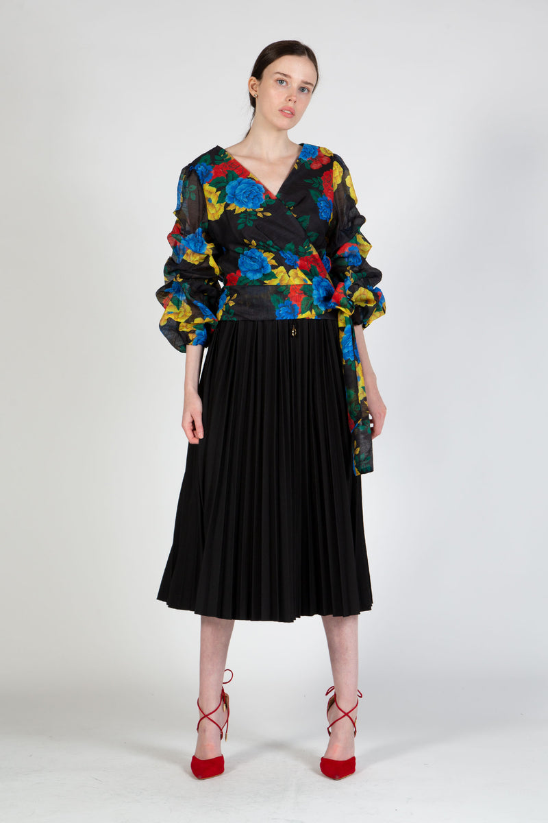 Floral Wrapped Top with Balloon Sleeves - Shop Beulah Style