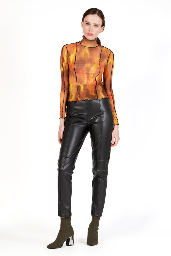 Fitted Mesh Top with High Neck Line - Shop Beulah Style