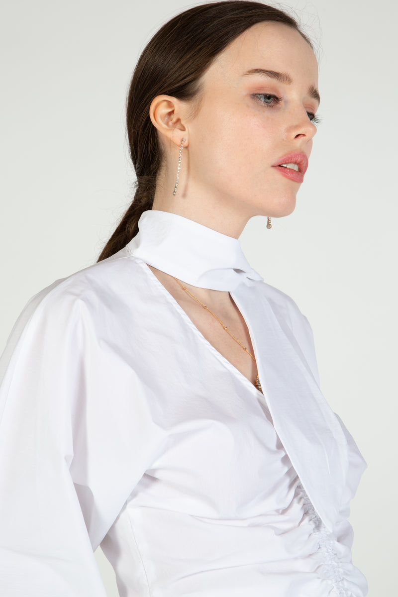 Cotton Top with Front Ruching & Neck Tie
