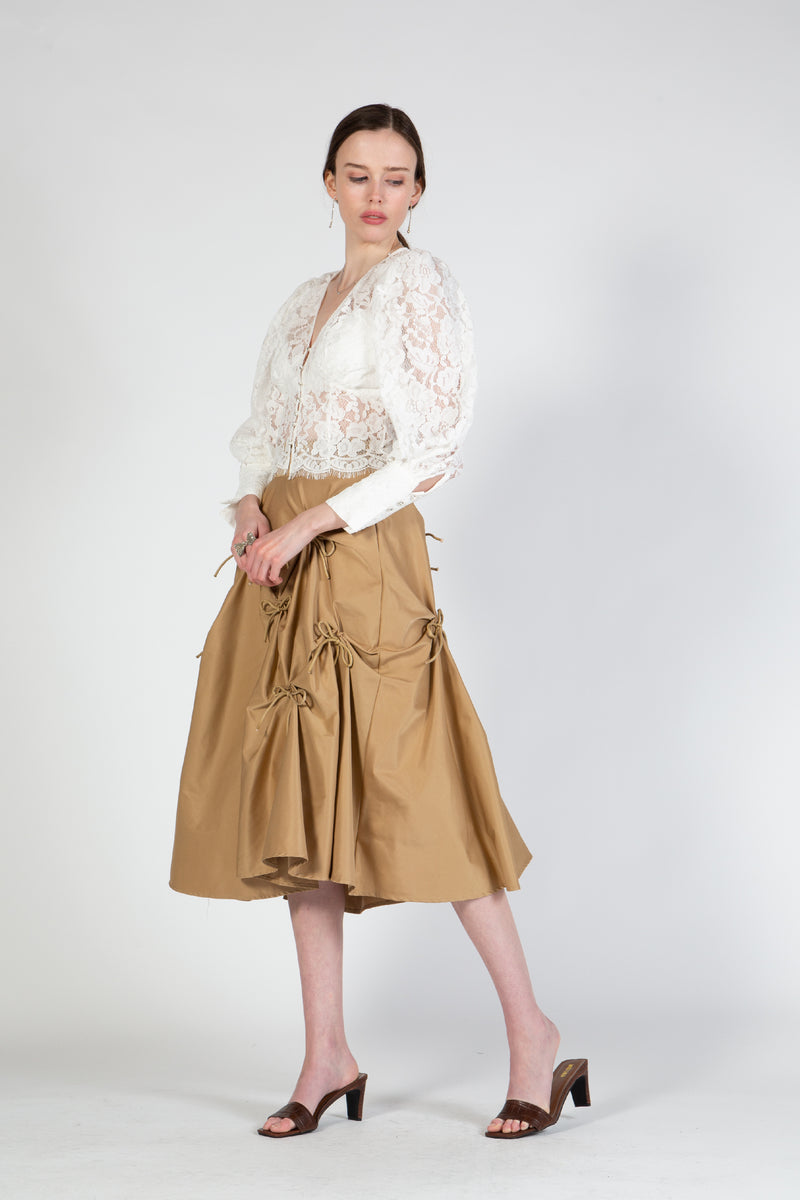 Knee Length Skirt with Gathers and Bows - Shop Beulah Style
