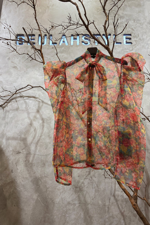 Floral Print Organza Blouse with Puff Sleeves - Shop Beulah Style