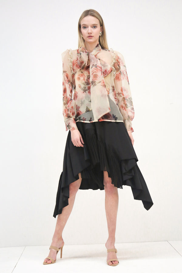 Organza Blouse with Bow Tie Neck - Shop Beulah Style