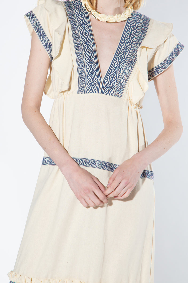 LINEN EMBROIDERY V- NECK DRESS - Shop Beulah Style