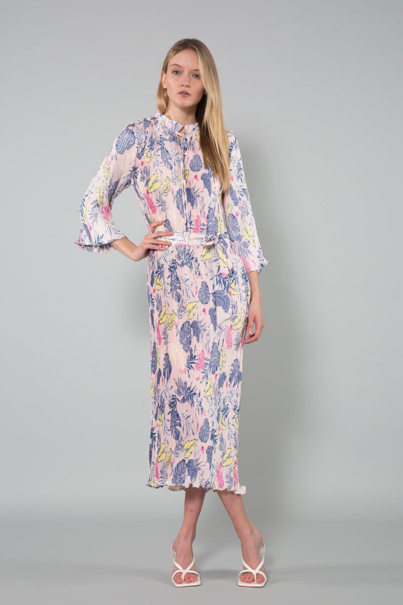 Patterned Crinkle Maxi Dress with Belt - Shop Beulah Style