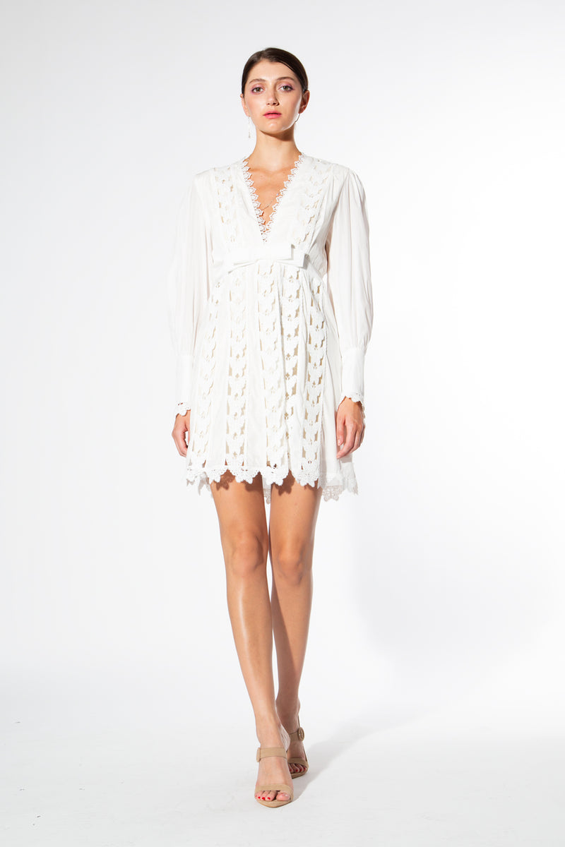 Butterfly embroidery V-neck Dress - Shop Beulah Style