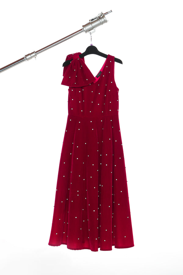 Velvet Dress with Bow on One Shoulder - Shop Beulah Style