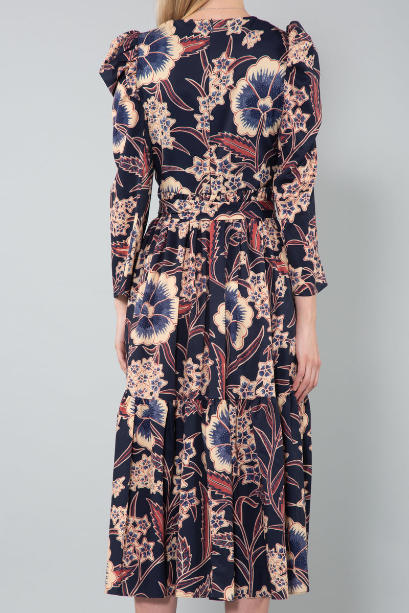 Puffed Shoulder Navy Floral Dress - Shop Beulah Style